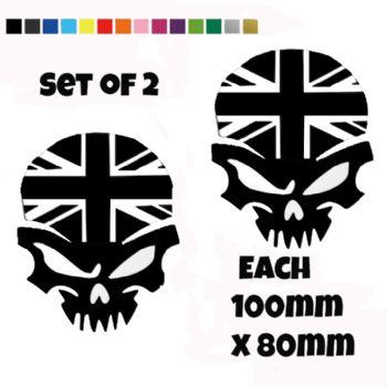 Union Jack Skull Stickers Car Motorbike Vinyl Decals